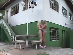 Blonde TS drills girl and guy in ass outdoors
