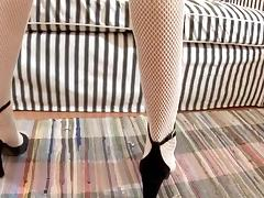 Girl in fishnets gets her pussy pumped before fucked
