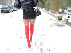 Snow, Babe, Brunette, College, French, Snow
