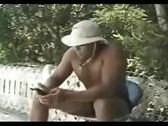 Handsome chap eats a hungry Tgirl outdoor