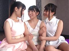 Sensual lesbian threesome with these cute Japanese girls