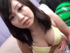 Her bikini comes off so this Asian girl can fuck in the back of a van