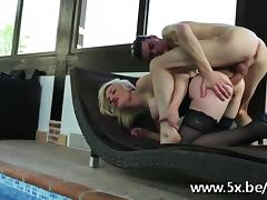 French mature Caroline anal fucked in stockings