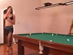 Pool table is perfect for hard threesome sex with a shemale