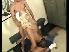 Curly blonde gets slammed by horny guy