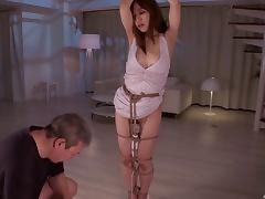 Submissive Japanese bed girl tied up and fucked by a dominate guy