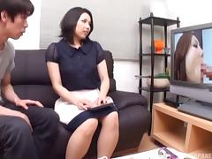 Sexy Japanese girl enjoys getting stabbed with the dick on the sofa