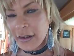 Interracial fuck for a blonde tranny whore