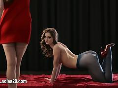 Super toys in super vaginas of horny strapon lesbians