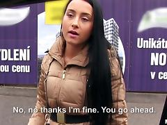 Slutty European girl with dark hair sucks a stranger's dick in the car