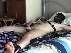 restrained slave gets CBT & TT