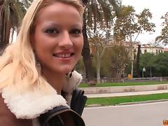 Thrilling blonde sucks with vigor and engages in the doggy shagging