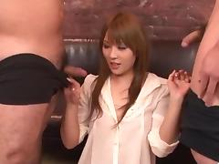 Mind blowing trio porn along superb Rinka Aiuchi