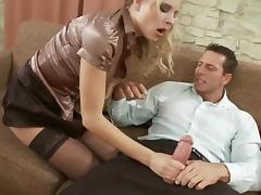 Tight blonde slut in black stockings gets fucked