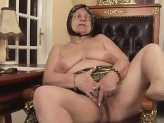 Naughty grandma rides on a stiff rod