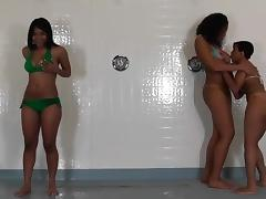 Three black teen lesbians showering