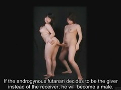 Bizarre Japanese futanari subtitled instructional clip porn video