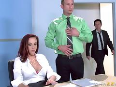 Horny co-workers sneak off to a storage room to fuck