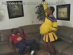 Hairy ebony cheerleader on the couch porn video