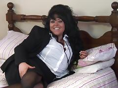Hot BBW in thigh high stockings having fun playing in bed