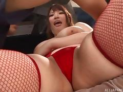 Asian senorita with large cupcakes and red lingerie poked hard