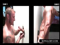 Sexy dude tricked into gay oral sex on gloryhole