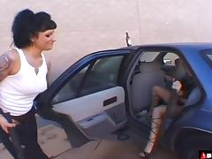 Rough lesbian femdom play outdoors with chocolate sauce mess