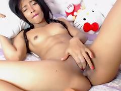 Pretty Latin Girl Masturbating Her Bald Pussy