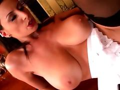Lusty maid with massive melons gets rammed