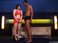 Tall black guy with a big dick gets a BJ from the Asian girl