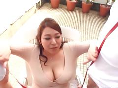 Fat Asian babe with sexy big titties strokes and sucks two dicks
