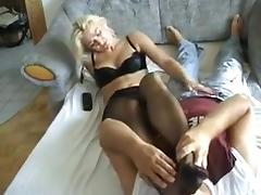 Handjob while sniffing nylon feet 19