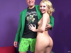 Hot blonde celebrates St Patricks Day by fucking his brains out