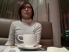 Sexy turtleneck sweater on a pretty Japanese milf