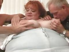 horny fat chick plays with two hard cocks @ phat farm