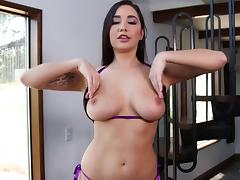 Karlee Grey goes down on a big cock and gags lustily
