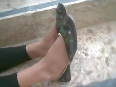 Cute blond stinky feet