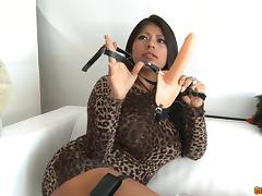 Suave senoritas use a strap-on for the maximum pleasure