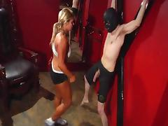 Strong lady kick some ball hardway ballbusting