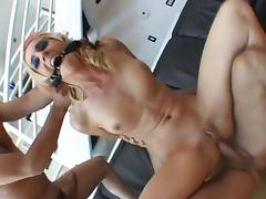 Skinny blonde whore with a shaved pussy enjoying a hardcore gangbang