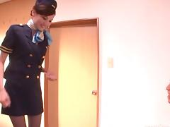 Asian stewardess gives an erotic CFNM handjob