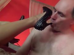 AsianMistress rest a slave licks and fondles her feet FemDom