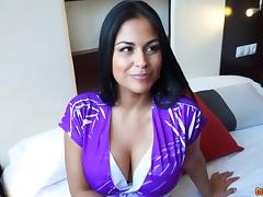 Thick Latin chick with big fake boobs gets fucked passionately
