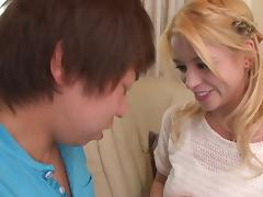 Prettiest blonde lets the Japanese guys penetrate her sweet pussy