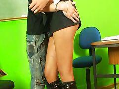 Latin shemale teacher bareback anal
