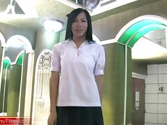 Asian ladyboy schoolgirl presents new bigtits and wanks cock