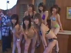 Japanese Stop the clock gang bang models