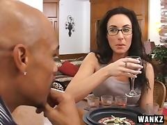 Horny milf in glasses gets her pussy filled with a big black cock