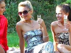 Wet and messy lesbian orgy outdoors with drunk babes