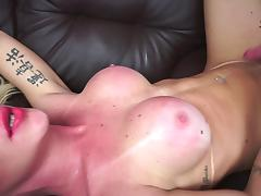 Shemale with huge tits and balls enjoys the doggy kind of drilling
